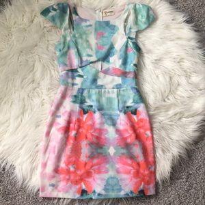Multicolor watercolor cut out dress
